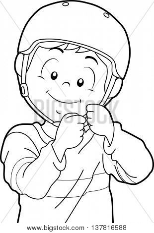 Black and White Coloring Page Illustration Featuring a Boy Putting a Helmet On