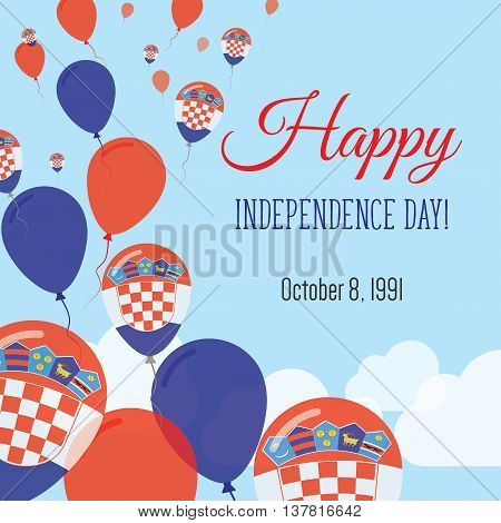 Independence Day Flat Greeting Card. Croatia Independence Day. Croatian Flag Balloons Patriotic Post