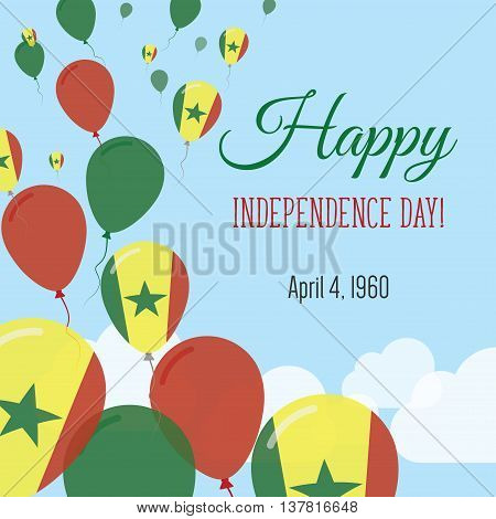 Independence Day Flat Greeting Card. Senegal Independence Day. Senegalese Flag Balloons Patriotic Po