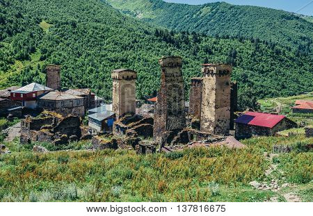 Ushguli Georgia - July 24 2015. Characteristic for the entire Svaneti region stone defensive towers in small village Murqmeli part of Ushguli community in Svaneti region