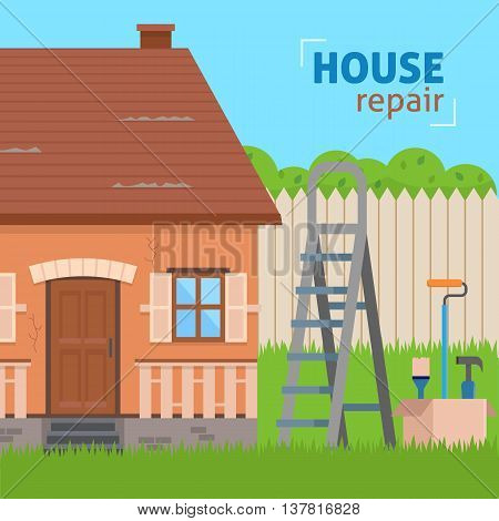 House repair. Ladder with tools for renovation. Flat style vector illustration.