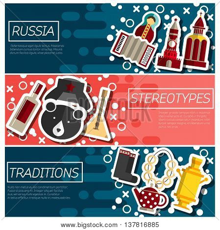 Set of Horizontal Banners about Russia. Russian symbols, travel Russia, Russian traditions. Vector illustration.