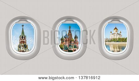 Looking Out The Windows Of A Plane To The Kremlin And Cathedrals