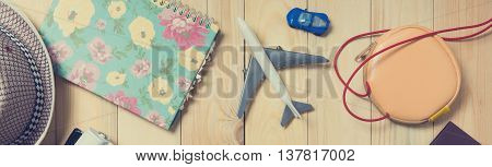 Summer Travel blogger stuffs for Banner in vintage tone.