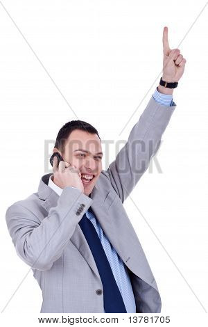 Business Man With Cellular Phone Winning