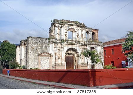 ANTIGUA GUATEMALA - OCTOBER 02 2015: Church and School of the Society of Jesus. Church destroyed by the earthquakes