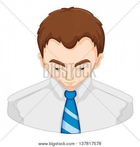 Man having problem with hair loss illustration