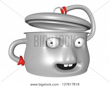 Happy pot character with smile holding lid open. 3D illustration.
