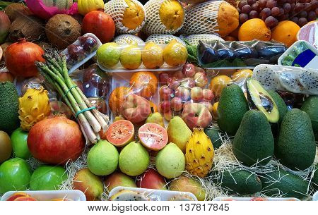mixed Various fruits on spanish market counter