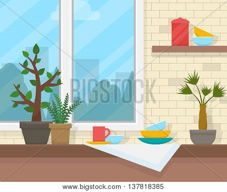 Table and window with house plants and dishes. House interior with furniture. Flat style vector illustration.