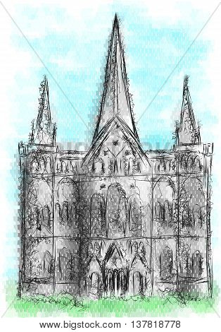salisbury cathedral. abstract ilolustration of historical landmark