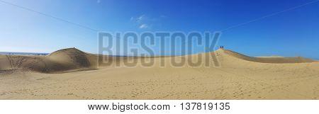 Sandy dunes in famous natural Maspalomas beach. Gran Canaria. Spain