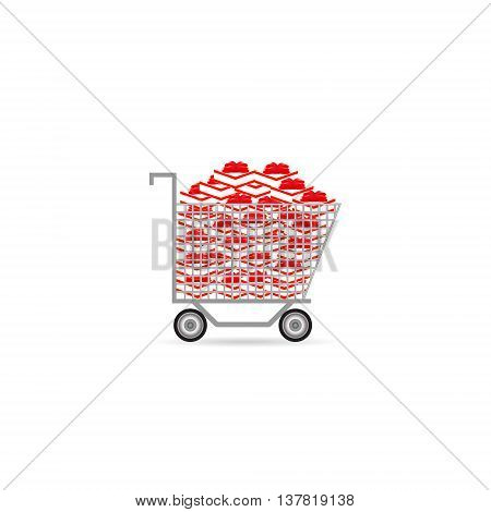 shopping cart with gifts set buy cart