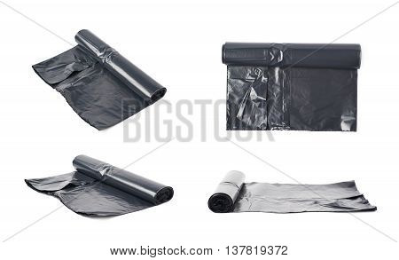 Roll of black plastic garbage bags isolated over the white background, set of four different foreshortenings