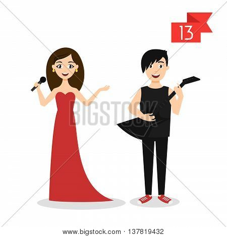 Vector profession characters: man and woman. Singer and musician.