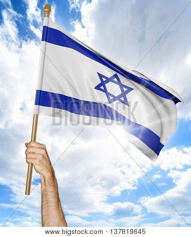 Person's hand holding the Israeli national flag and waving it in the sky, 3D rendering