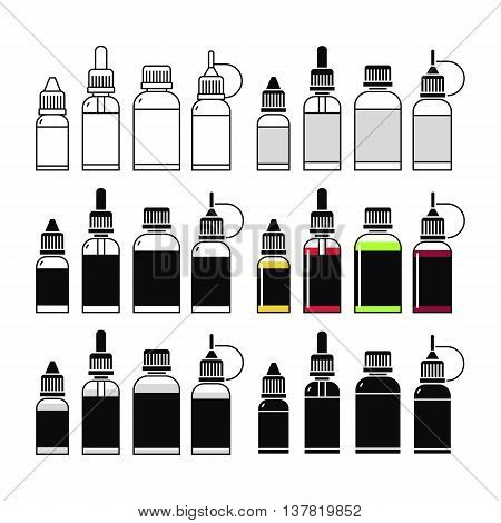 Vector icons of e-liquid. Print on white background