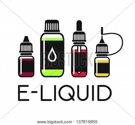 Vector icons of e-liquid. Color print on white background