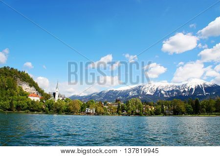 a beautiful view of Bohinj lake Slovenia