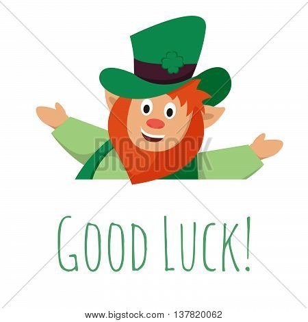 Vector illustration of St. Patrick's day leprechaun with big sign.