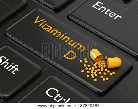 3D Rendered Vitamin D Pill Lying On Keyboard
