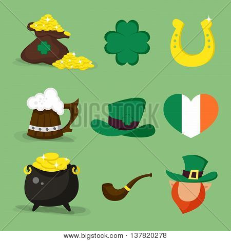 Set of vector icons for St.Patrick's day design.Four-leaf clover golden horseshoe heart shaped flag of Ireland Leprechaun.