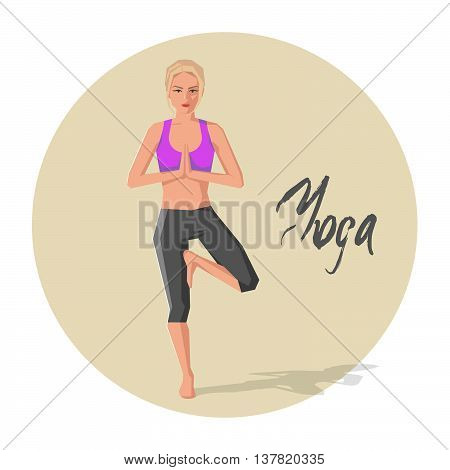 Vector illustration of Caucasian woman practicing yoga