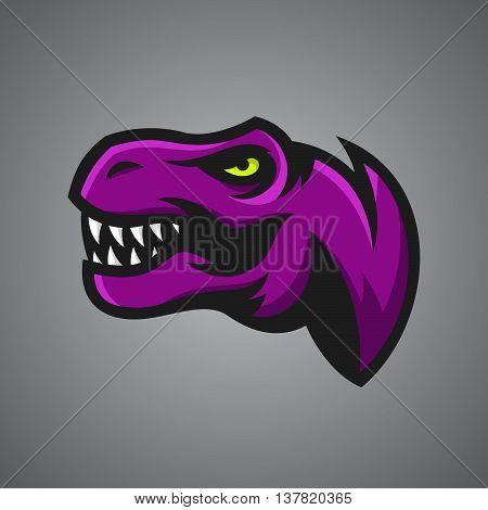Vector illustration of Tyrannosaurus Rex head. Sport mascot.