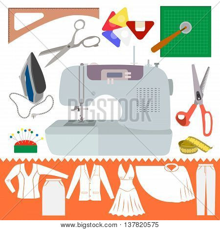 Collection of Sewing Items with Clothes Sihiouette. Set of cutting items for modeling dress. Sewing machine and other accessories for hand made hobby. Fashion tools in flat design. Vector illustration