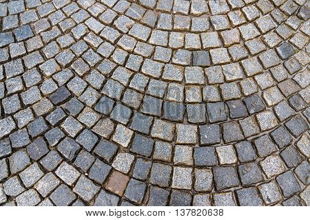 Grey Cobblestone Pavement After The Rain