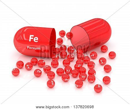 3D Rendered Iron Fe Pill Over White Background
