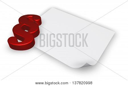 paragraph symbol and blank white paper sheet - 3d rendering