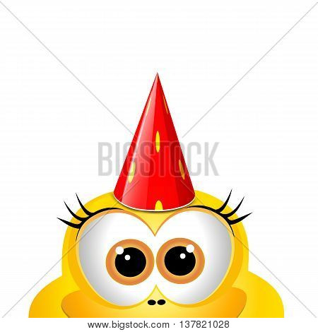 Birthsday card design template. Funny yellow chicken.
