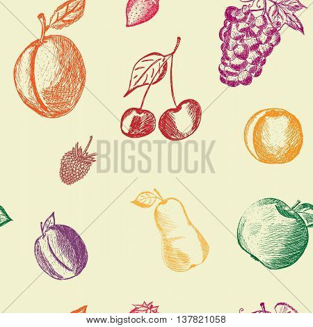 Healthy Food hand drawn background. Fruits and berries seamless background. Apple apricot plum strawberry raspberry pear cherry peach grape hand drawn. Eco raw organic natural. Vector