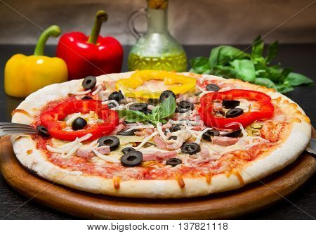 Delicious Pizza with Fresh pepper and olives