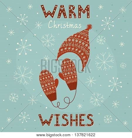 Warm Christmas wishes card with cozy mittens and cap. Vector illustration