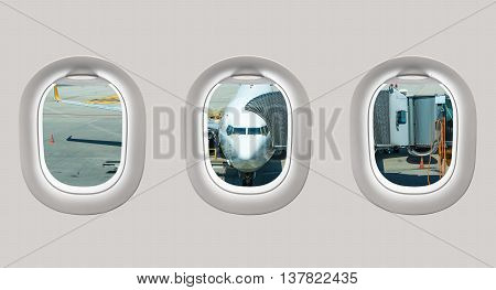 Looking Out The Windows Of A Plane To The Plane In Airport