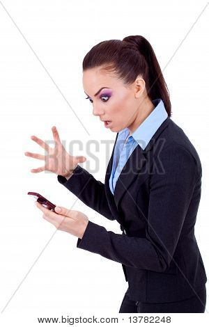 Business Woman Yelling On Cell Phone