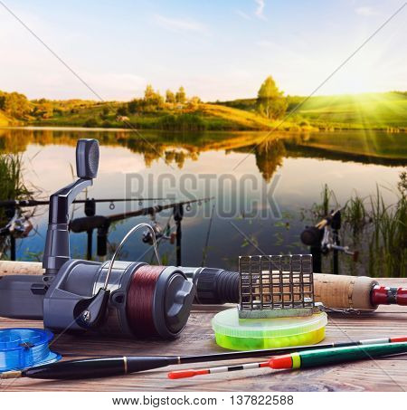 fishing on the lake at sunset accessories