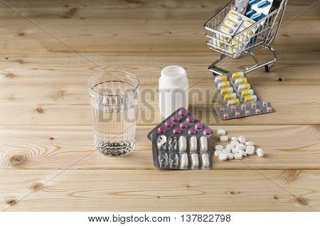Glass clean water and bunch blister packs of pills with shop trolley