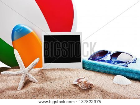 photoframe towel and sunglasses and other accessories for the beach