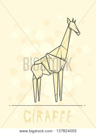 Vector simple illustration paper origami of giraffe.