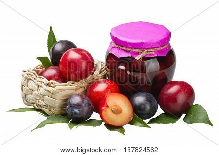 Plum compote and fresh plums isolated on white background