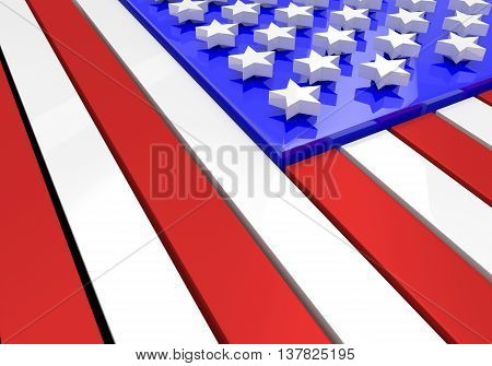 3D model of an American flag in relief with stars floating