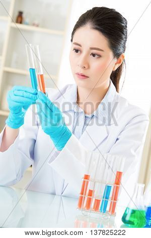 Female Forensic Scientist Working On Chemicals In Laboratory