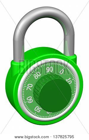 Combination padlock isolated on white background. 3D rendering.