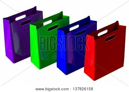 Colored shopping bags isolated on white background. 3D rendering.