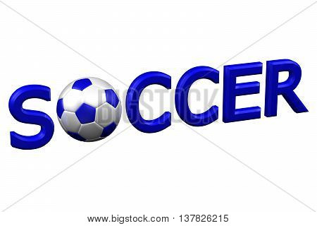 Concept: Soccer isolated on white background. 3D rendering.
