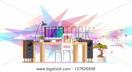 Office workplace illustration. Flat design banners for online education training courses e-learning distance training. Abstract & Geometric style. Business concept. Marketing & management