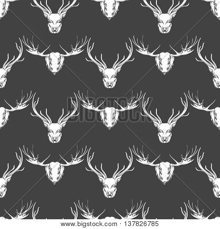 White and grey seamless pattern with deer and elk heads. Vector illustration